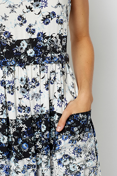 Floral Cap Sleeve Skater Dress