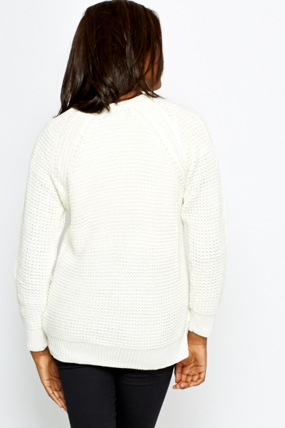 Ivory Woven Knitted Jumper