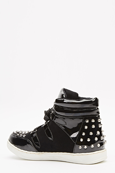 Patent Spike Studded Trainers