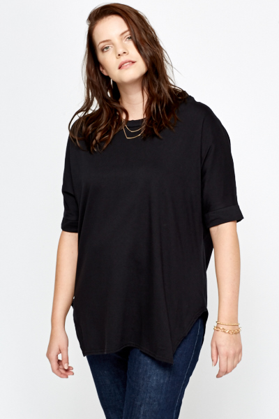 Black Oversized Funnel Neck Top