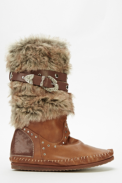 Faux Fur Belted Boots