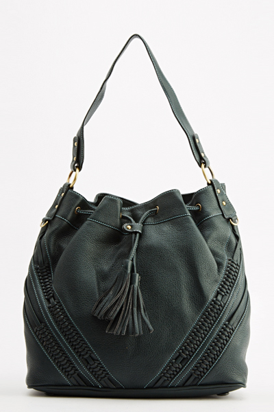 Green Faux Leather Tassel Hobo Bag