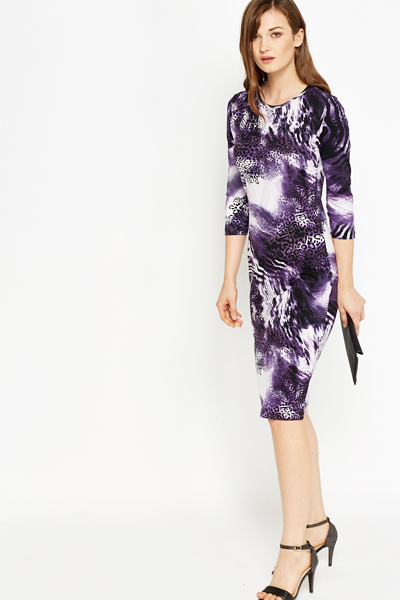 Plum Animal Print Pencil Dress