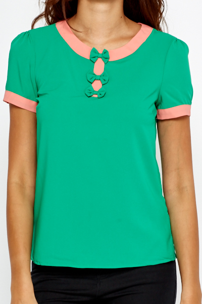 Green Bow Front Top