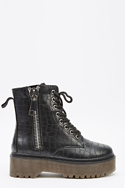 Mock Croc Zip Up Boots