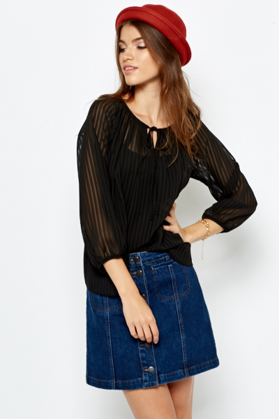 Stripy Shirred Blouse