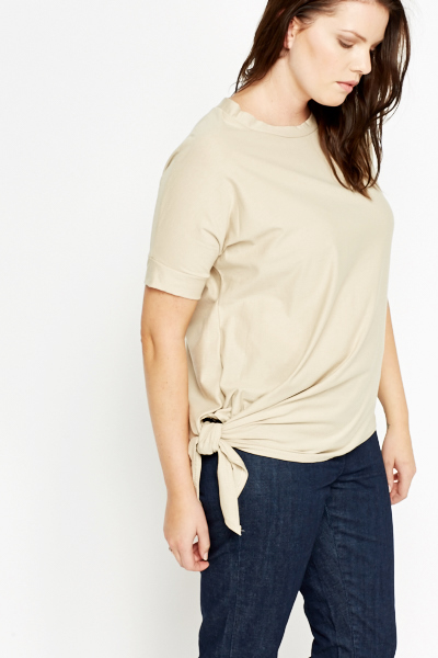 Beige Cotton Tie Up Top