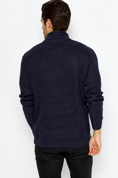 Button Collar Loose Knit Jumper