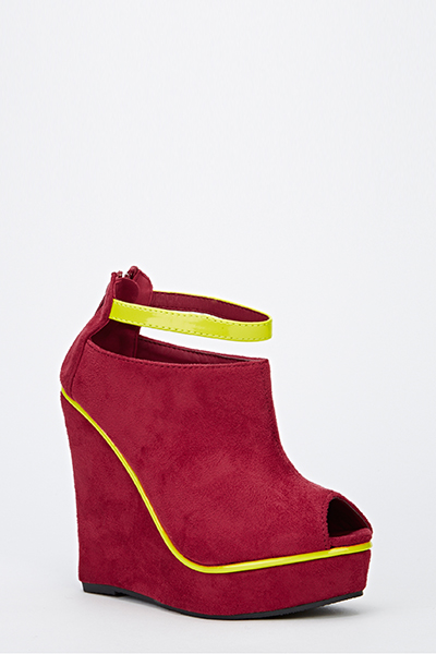 Contrast Trim Suedette Wedges