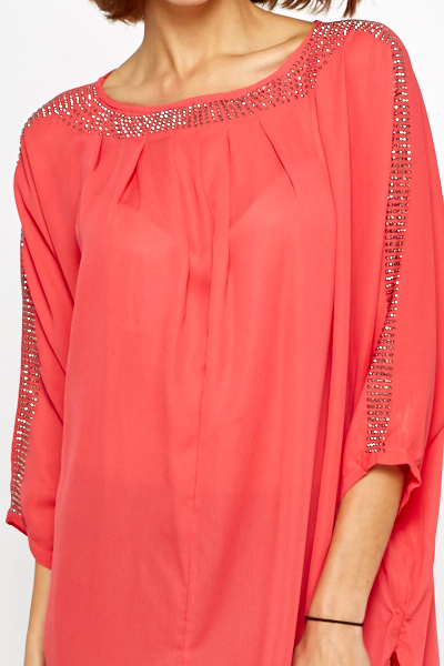 Diamante Studded Tunic Dress