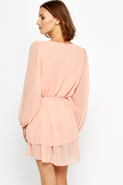 Diamante Encrusted Peach Shift Dress