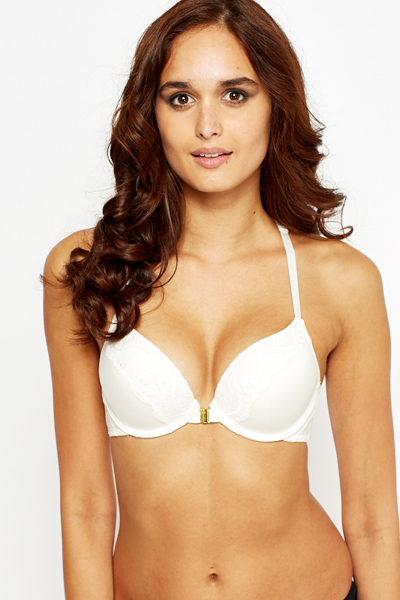 Strappy Back Plunge White Bra