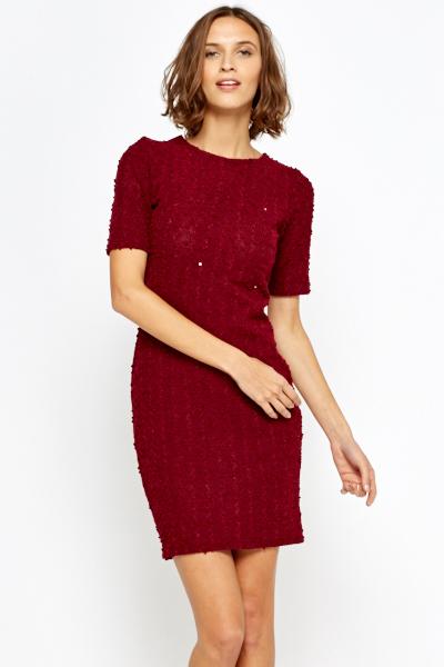 Image of Burgundy Bobble Sequin Bodycon Dress