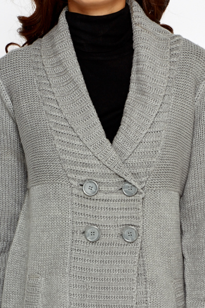 Double Breasted Long Chunky Cardigan