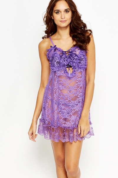 Floral Lace Purple Chemise And Thong Set