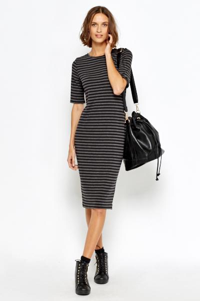 Grey Striped Long Straight Dress Just 163 5
