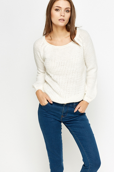 White Loose Knit Jumper