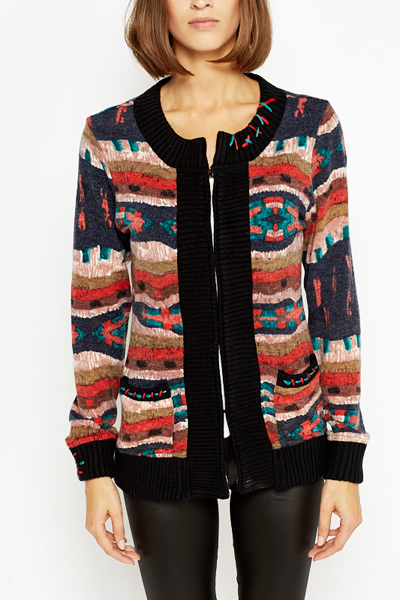 Aztec Zipped Cardigan