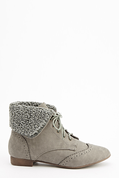 Grey Overlay Brogue Ankle Boots