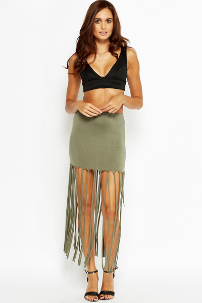Long Fringed Skirt