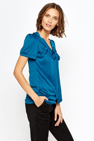Teal Low Neck Tie Up Top