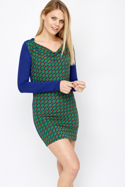 Contrast Pattern Front Bodycon Dress
