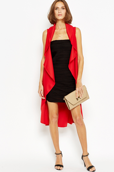 Red Long Line Waterfall Cardigan - Just £5
