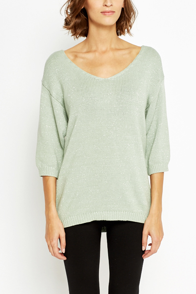 Shimmer Deep V-Neck Jumper