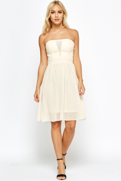 Bandeau Mesh Insert Skater Dress