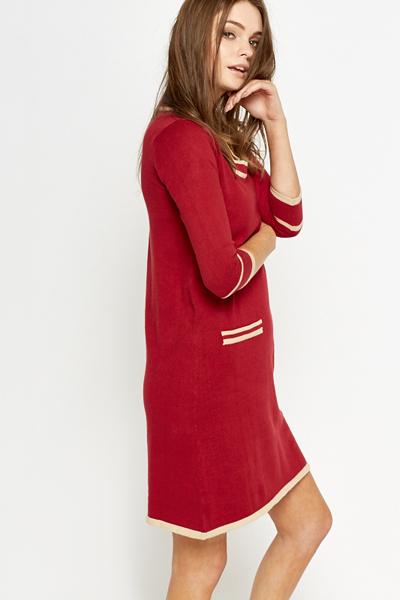 Cotton Stripe Panel Dress