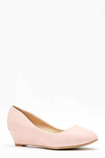 Faux Leather Low Wedge Shoes