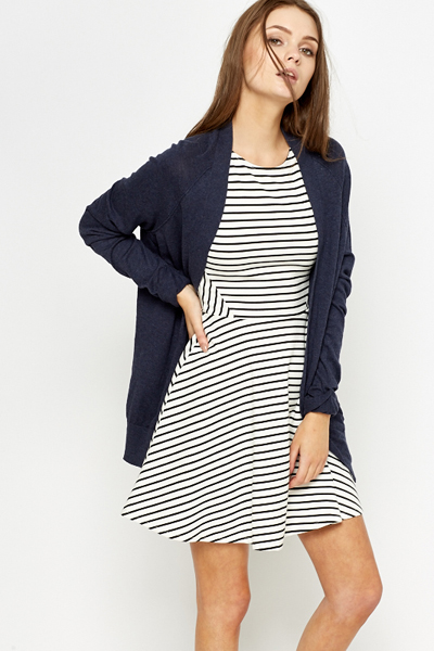 Navy Open Front Cotton Blend Cardigan