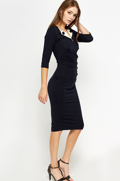 Navy Ruched Button Trim Pencil Dress - Just £5 48f2602c5