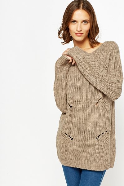 Perforated Side Knitted Jumper
