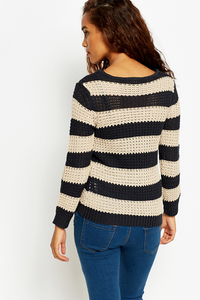 Casual Striped Knit Jumper