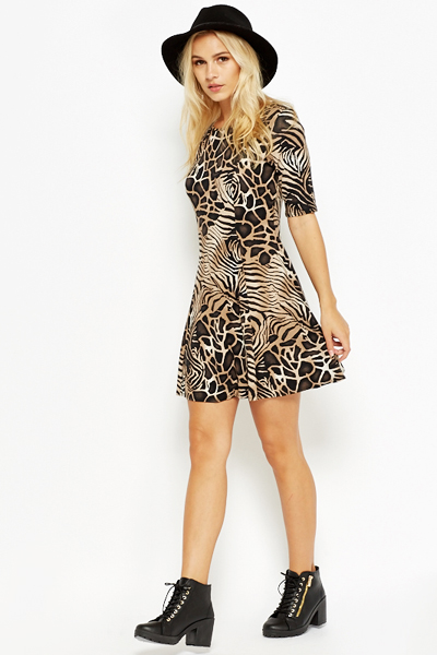 958865d9a5 Mix Animal Print Swing Dress - Just £5