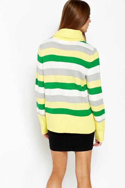 Oversized Striped Roll Neck Jumper