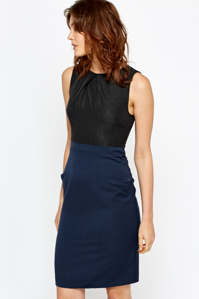 Contrast Bodice Pencil Dress