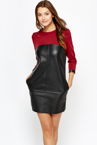 Faux Leather Contrast Shift Dress