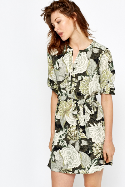 Green Floral Shirt Dress