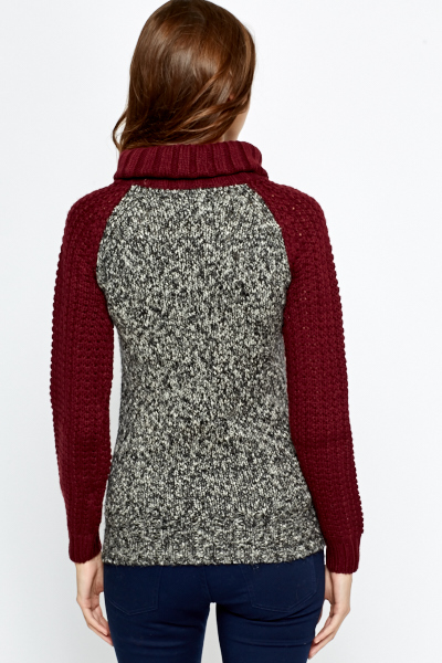 Grey Speckled Panel Roll Neck Jumper