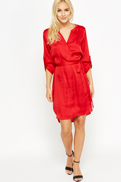Red Silk Feel Shirt Dress - Just £5