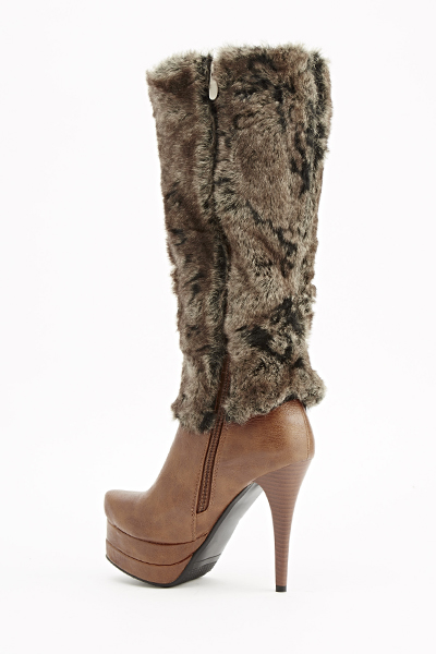 camel faux fur heeled boots just 163 5