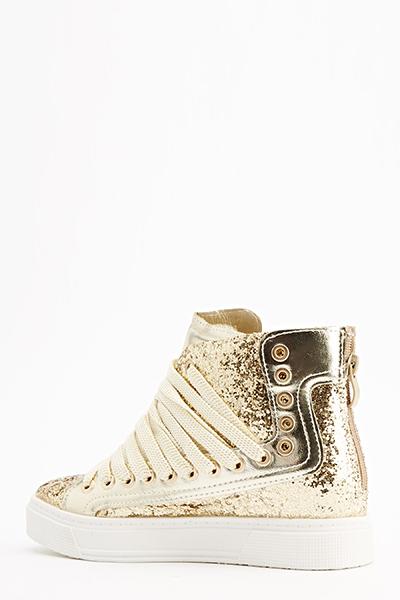 Gold Glitter High Top Trainers - Just £5 da18a5919