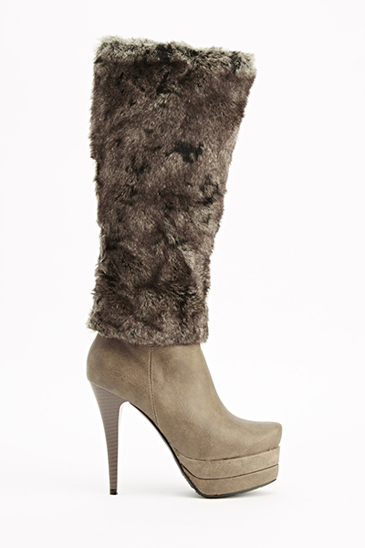 Khaki Faux Fur Heeled Boots