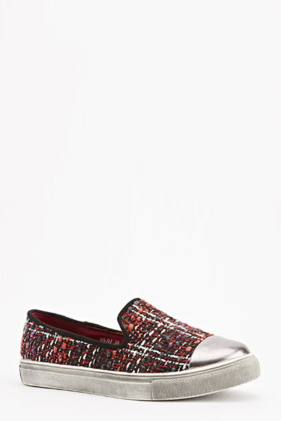 Tweed Design Metallic Slip Ons