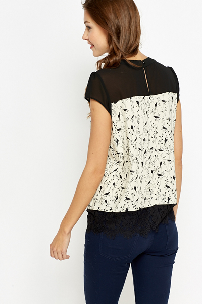 Bird Print Contrast Top