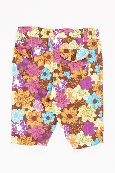 Brown Floral Trousers