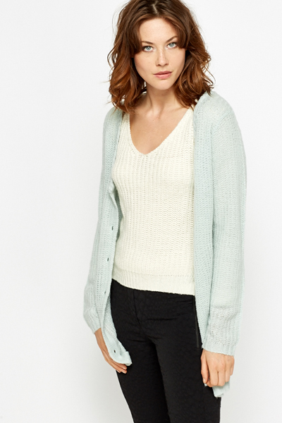 Cable Trim Knitted Cardigan