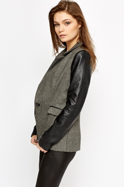 Faux Leather Contrast Blazer